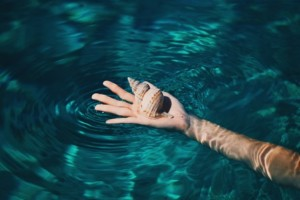 Open hand, palm up, holds a pretty shell while floating in blue water